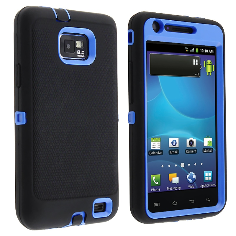 INSTEN Blue/ Black Hybrid Phone Case Cover for Samsung Galaxy S II AT&T i777 Attain