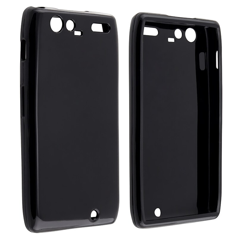 Black TPU Rubber Skin Case for Motorola Droid RAZR Maxx XT916