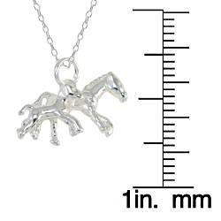 Sunstone Sterling Silver Horse and Foal Necklace
