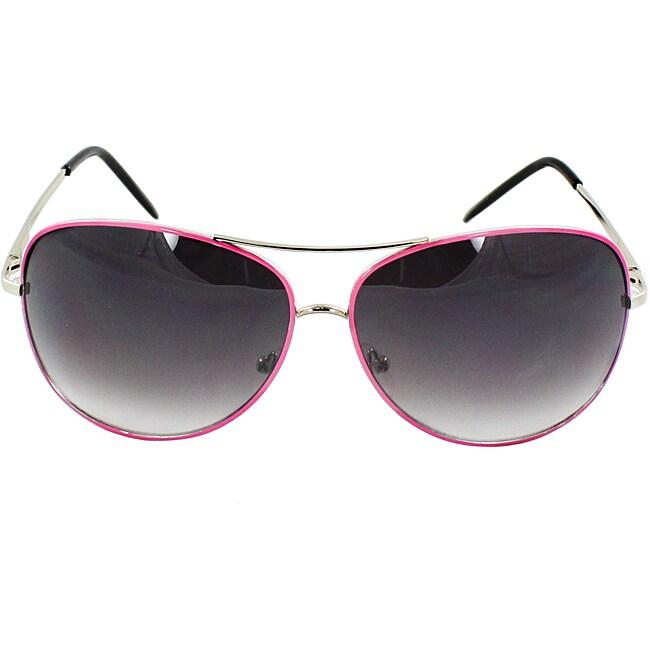 Women's Pink Metal Aviator Sunglasses