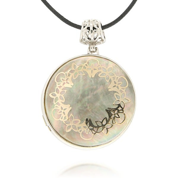 Pearlz Ocean Floral Overlay Grey Shell Pendant