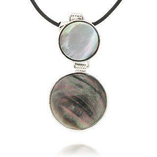 Pearlz Ocean Silvertone Copper Black and Grey Shell Pendant