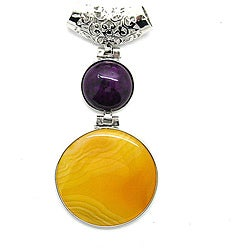 Pearlz Ocean Silvertone Copper Yellow Agate and Synthetic Stone Pendant