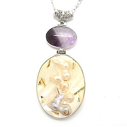 Pearlz Ocean Silvertone Copper White Shell and Amethyst Pendant