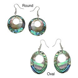 Pearlz Ocean Silvertone Copper Abalone and White Shell Earrings
