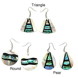 Pearlz Ocean Abalone and White Shell Dangle Earrings