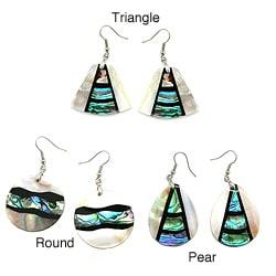 Pearlz Ocean Abalone and White Shell Dangle Earrings