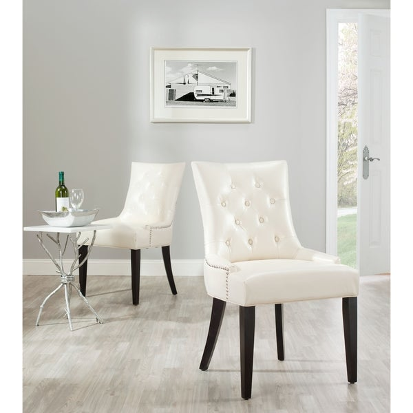 Safavieh En Vogue Dining Abby Cream Leather Nailhead Side Chairs (Set of 2)