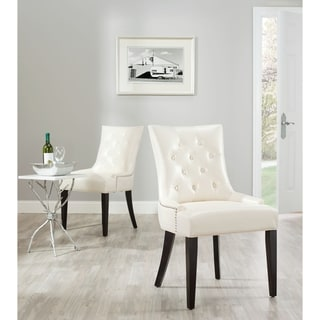 Safavieh Marseille Cream Leather Nailhead Dining Chairs (Set of 2)
