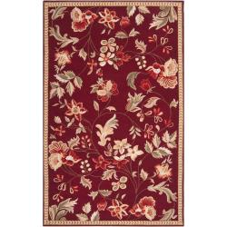 Hand-hooked Red Amedeo Wool Rug (5' x 8')