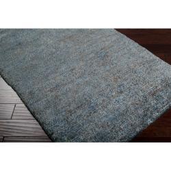 Hand-woven Blue Isolo Natural Fiber Hemp Rug