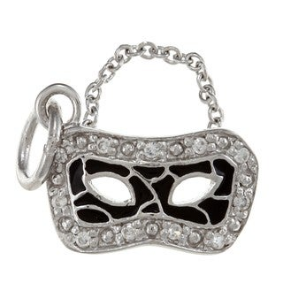 La Preciosa Sterling Silver CZ and Black Enamel Mask Charm