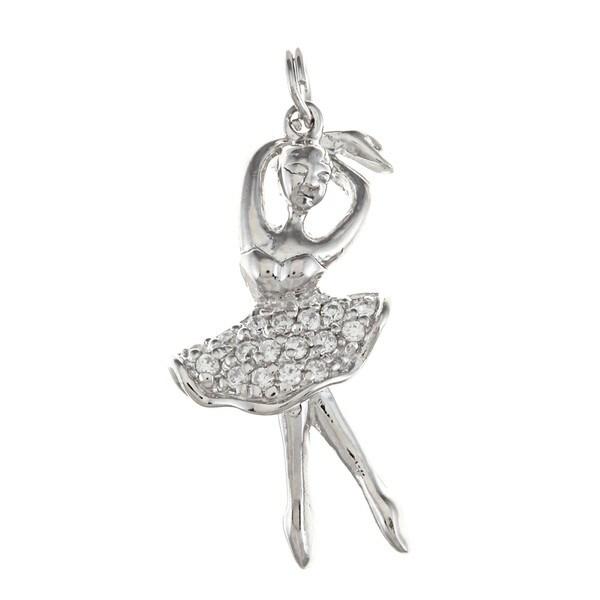 La Preciosa Sterling Silver CZ Ballerina Charm