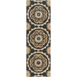 B. Smith Hand-tufted Black Kategelo New Zealand Wool Rug (2'6 x 8')