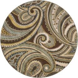 Meticulously Woven Contemporary Brown/Green Paisley Floral Kinet Rug (6'7 Round)