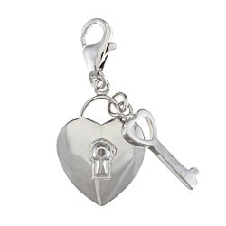 La Preciosa Sterling Silver CZ Heart Lock and Key Charm