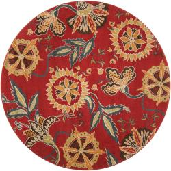 Meticulously Woven Contemporary Red Floral Lalio Rug (6'7 Round)
