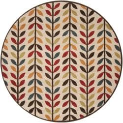 Meticulously Woven Contemporary Brown/Red Floral Leuko Rug (6'7 Round)