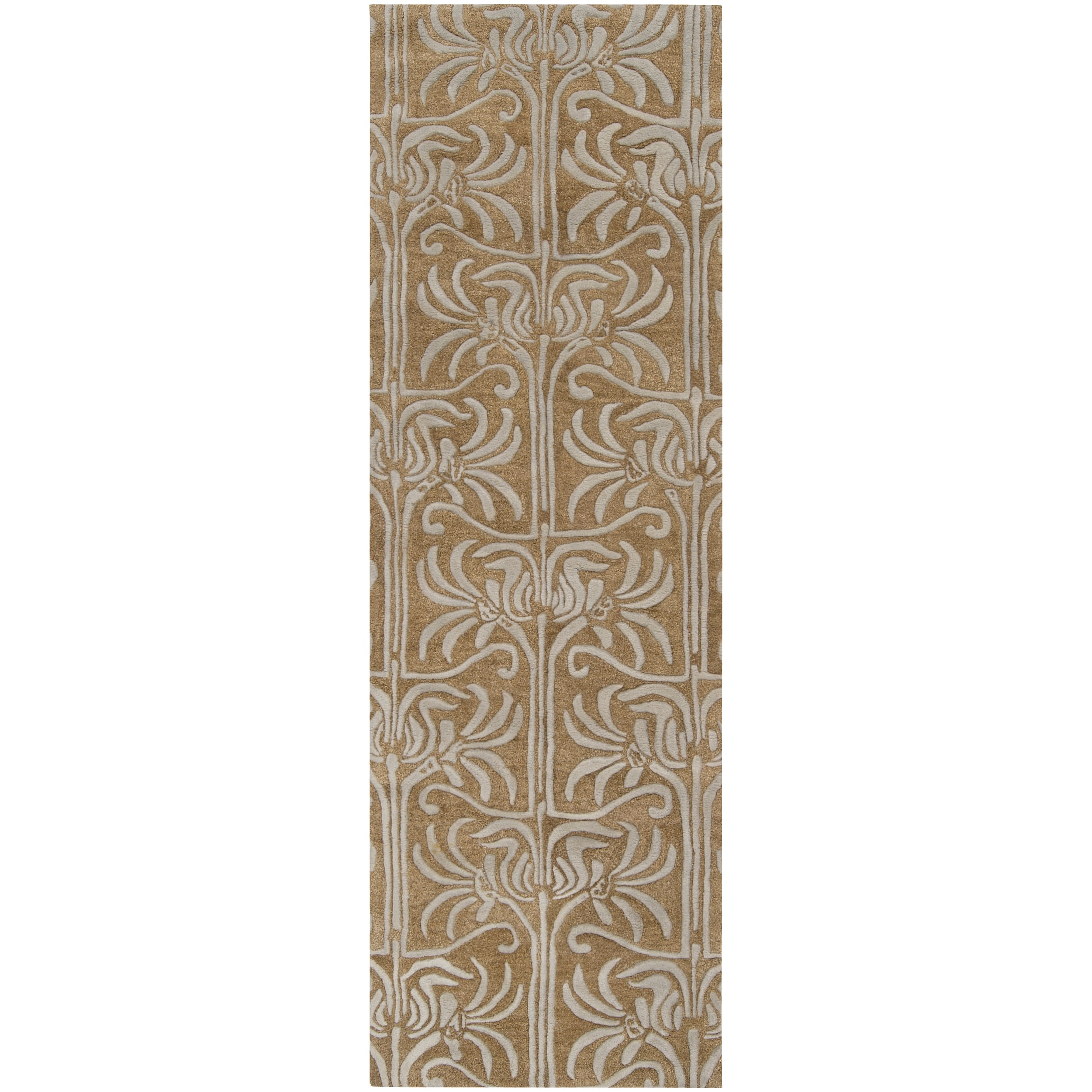 Hand-tufted Grey Lysso New Zealand Wool Rug (2'6 x 8')