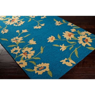 Paule Marrot Editions Hand-hooked Blue Paprika Floral Indoor/Outdoor Rug (5' x 8')