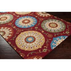 Hand-tufted Red Hermones Wool Rug (8' x 11')