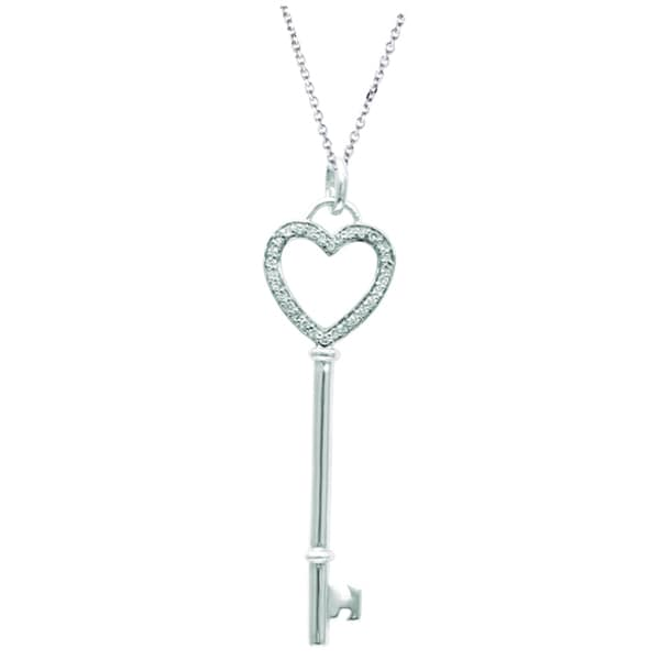 Sterling Silver 1/8ct TDW Diamond Heart Key Necklace (H-I, I1-I2)