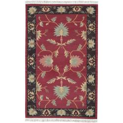 Hand-woven Burgundy Southwestern Baba New Zealand Wool Rug (7' x 9')