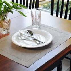 Monogrammed Natural Linen Hemstitch Placemats (Set of 6)