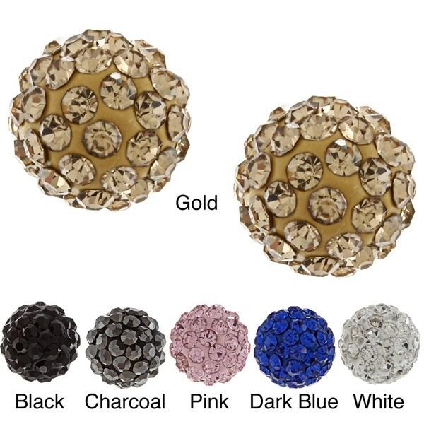 La Preciosa Sterling Silver 8mm Crystal Stud Earrings