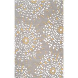 Hand-tufted Contemporary Gray Zandoline New Zealand Wool Abstract Rug (5' x 8')