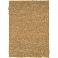 Handwoven Jute/Leather Mandara Tan Rug (5' x 7'6)