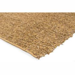 Artist's Loom Hand-woven Natural Eco-friendly Leather Shag Rug (2'6x7'6)