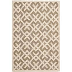 Safavieh Poolside Brown/Bone Indoor Outdoor Border Rug (5'3 x 7'7)