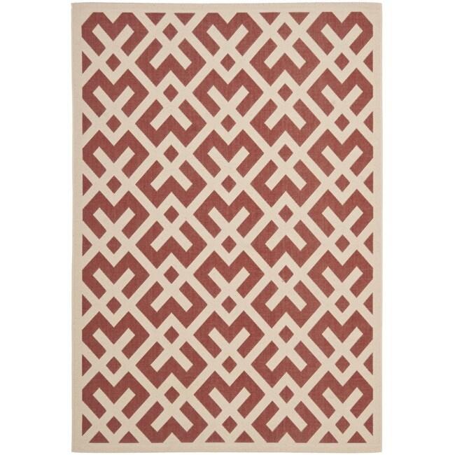 Safavieh Mold-Reisistant Poolside Red/Bone Indoor Outdoor Rug (4' x 5'7