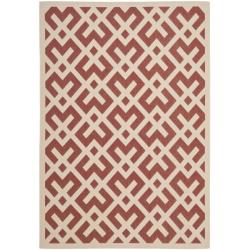 "Safavieh Poolside Red/Bone Indoor/Outdoor Polypropylene Rug (6'7"" x 9'6"")"