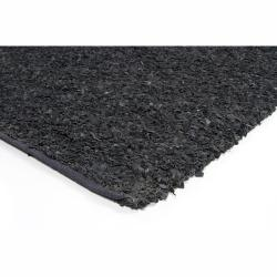 Handwoven Mandara Black Leather Shag Rug (7'9