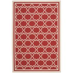 Safavieh Poolside Red/ Bone Indoor Outdoor Rug (5'3 x 7'7)