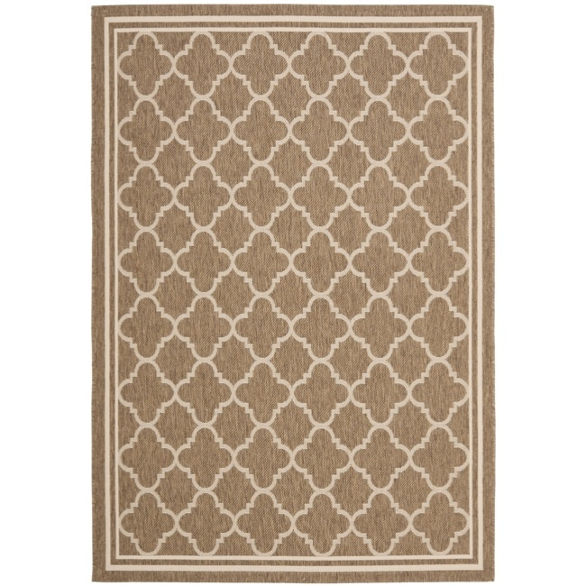 "Safavieh Poolside Brown/Bone Indoor/Outdoor Bordered Rug (4' x 5'7"")"