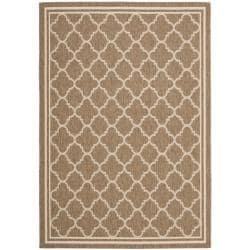 "Poolside Brown/Bone Indoor/Outdoor Bordered Rug (4' x 5'7"")"