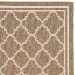 Poolside Brown/Bone Indoor/Outdoor Bordered Rug (4' x 5'7