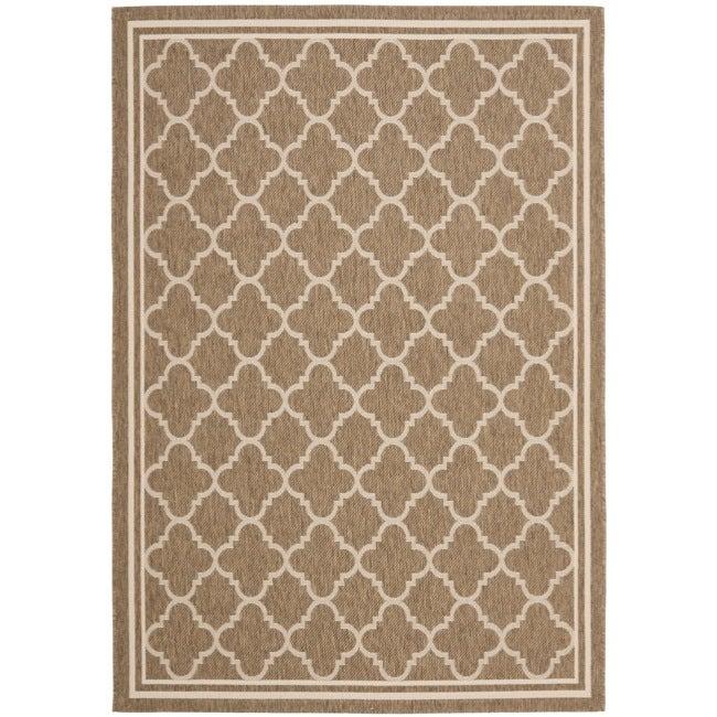 Safavieh Poolside Brown/Bone Indoor Outdoor Polypropylene Rug (5'3 x 7'7)