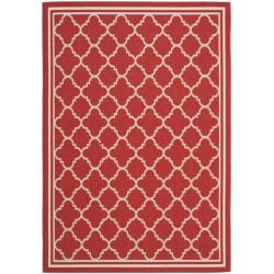 "Safavieh Poolside Red/Bone Indoor/Outdoor Geometric Rug (5'3"" x 7'7"")"