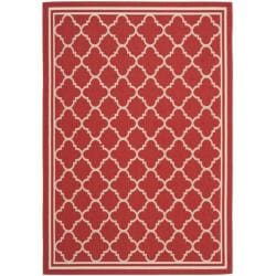 "Poolside Red/Bone Indoor/Outdoor Geometric Rug (5'3"" x 7'7"")"