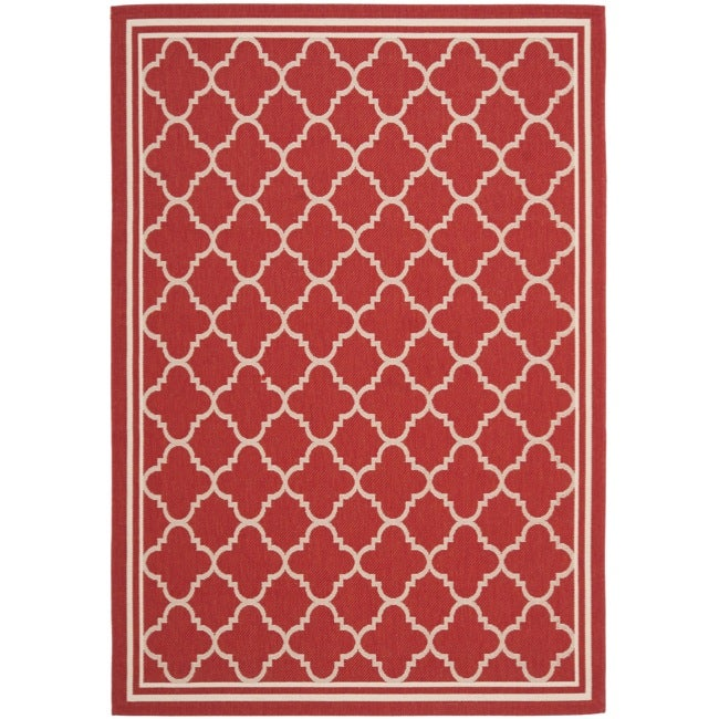 Safavieh Poolside Red Bone Indoor Outdoor Area Rug 6 7 Quot X