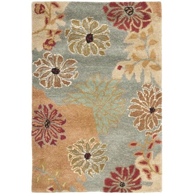 Safavieh Handmade Chatham Garden Blue New Zealand Wool Rug (2' x 3')
