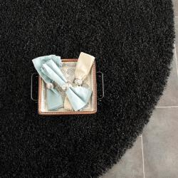 Cozy Solid Black Shag Rug (6' 7 Round)