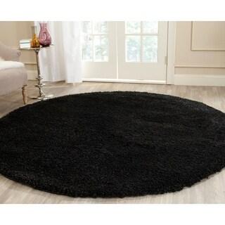 Safavieh Cozy Solid Black Shag Rug (6' 7 Round)