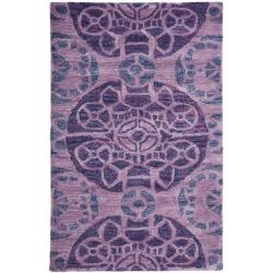 Handmade Chatham Treasures Purple New Zealand Wool Rug (2'6 x 4')