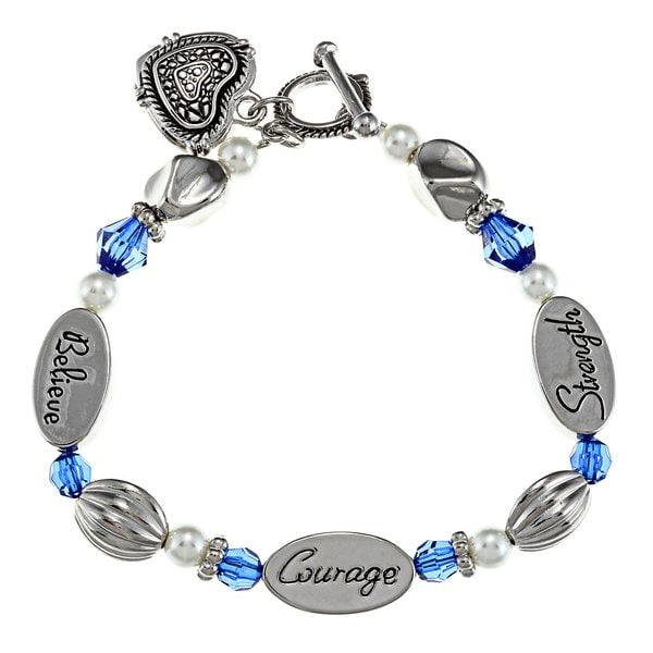 La Preciosa Silvertone Crystal Sentiments 7-1/2-inch Heart Toggle Bracelet 8911528