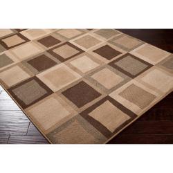 Woven Beige Madras Geometric Squares Rug (7'9 x 11'2)